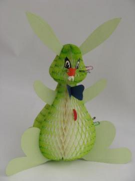 vintage paper Easter bunny decoration, honeycomb tissue marked Japan