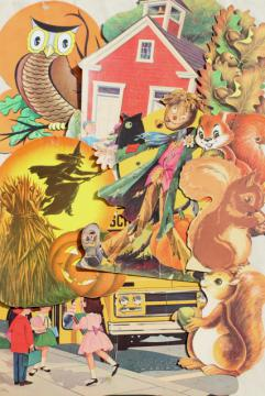 vintage paper die-cut decorations, autumn fall leaves squirrels, back to school bus
