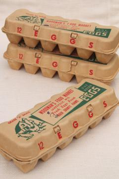 vintage paper egg cartons, Farm Fresh Eggs Woodman's Market Janesville Wisconsin