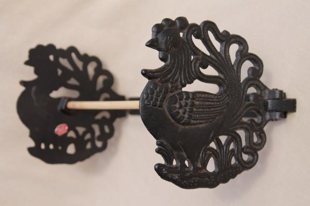 vintage paper towel holder wall rack, country kitchen black cast iron rooster chicken