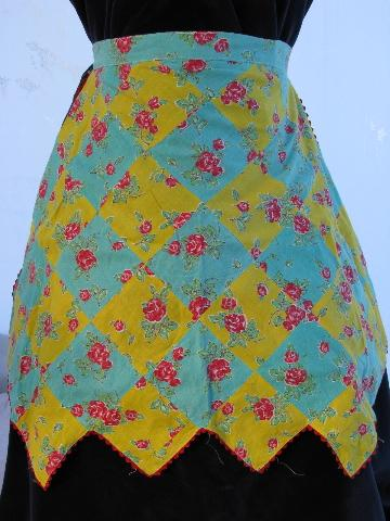 vintage patchwork cotton apron, red roses print