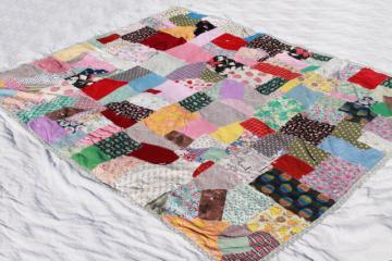 vintage patchwork crazy quilt bedspread, bohemian hippie style retro prints & wild colors