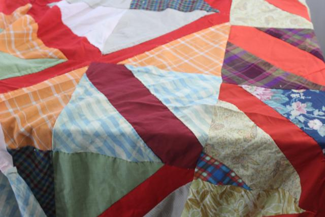 vintage patchwork crazy quilt tops or bedspreads, bohemian retro 60s colorful prints