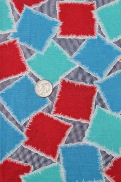 vintage patchwork print cotton feedsack fabric, sewn sack w/ original chain stitching