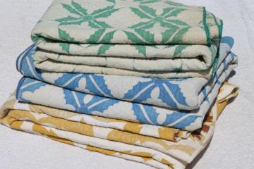 vintage patchwork print cotton whole cloth quilt bedcovers, old Kentucky quilts lot