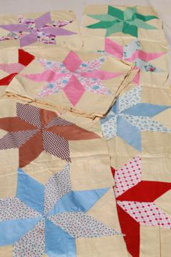 vintage patchwork quilt blocks, hand stitched stars pieced cotton prints & solid colors