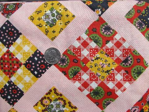 vintage patchwork quilt cheater print cotton quilting print fabric, 1950s