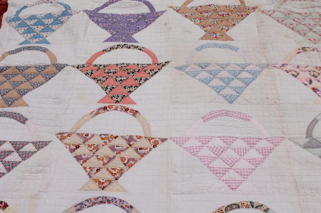 vintage patchwork quilts, shabby cutter quilt lot upcycle fabric sunbonnet girl & flower basket