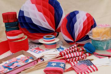 vintage patriotic holiday election party American flags & paper decorations red, white and blue