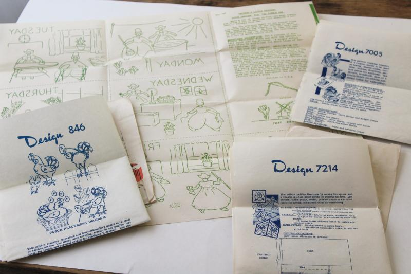 vintage patterns for kitchen linens, days of the week towel embroidery transfers