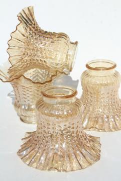 vintage peach luster iridescent glass lamp shades, ceiling fan light shade set