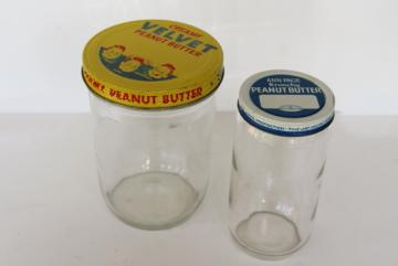 vintage peanut butter containers, glass jars w/ metal lids Velvet, Ann Page brand