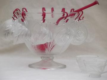 vintage pebble leaf pattern glass punch set, Indiana crystal bowl & cups w/ red ladle