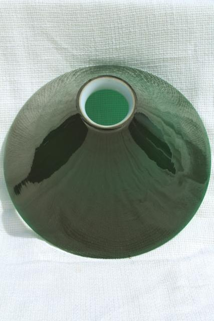 vintage pendant light shade, Emerlite green & white cased glass replacement shade