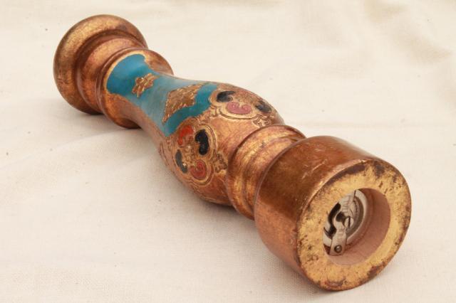 vintage pepper grinder huge pepper mill hand painted florentine