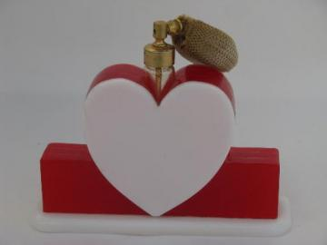 vintage perfume spray atomizer, red and white plastic heart vanity bottle