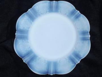 vintage petalware depression glass, moonstone white opalescent plate
