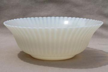 vintage petalware depression glass serving bowl, clambroth transluscent white glass
