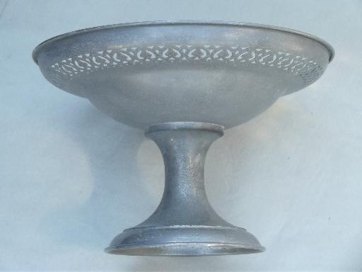 vintage pewter compote bowl, weathered dull silver metal centerpiece