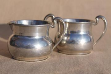 vintage pewter creamer & sugar set, colonial style cream pitcher & sugar bowl