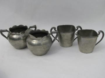 vintage pewter lot, two cream pitcher and sugar bowl sets