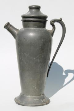 vintage pewter pitcher, cocktail mixer pitcher w/ lovely dark silver color