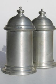 vintage pewter salt & pepper shakers set, antique colonial style pewter