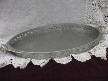 vintage pewter serving or hall tray w/ handles, ornate gallery rim