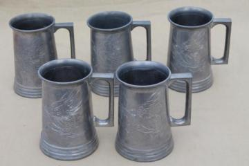 vintage pewter steins with Chinese dragons, glass bottom mugs from Swatow China