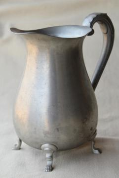 vintage pewter water pitcher, paw foot colonial style jug