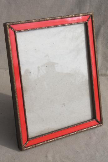 vintage photo / picture frame, red enamel & antique gold wood frame ...