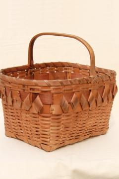 vintage picnic basket or market basket, old Winnebago Indian basket from Wisconsin