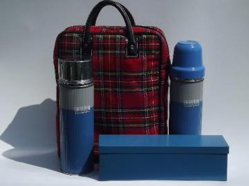 vintage picnic set, red tartanware tote, sandwich carrier, thermos