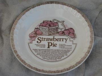 vintage pie pan, Royal china pie plate w/ Strawberry Pie recipe