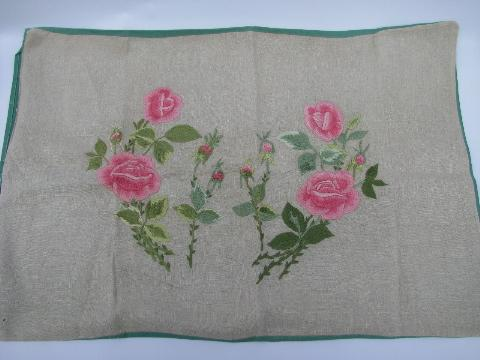 vintage pillow sham cover, embroidered pink roses on flax linen, jadite green cotton