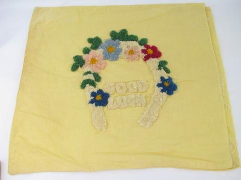 vintage pillow top cover w/ Good Luck motto in looped chenille embroidery