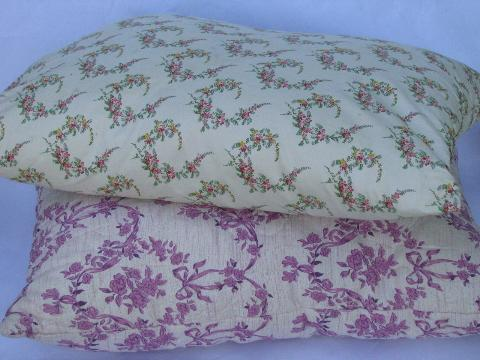 vintage pillows w/ flowered cotton fabric covers, old feather pillow