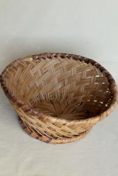 vintage pine needle basket, beautiful large hand woven basketweave bowl