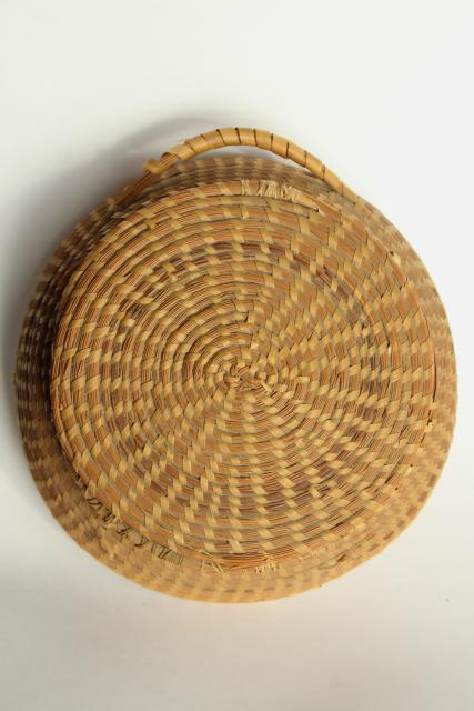vintage pine needle basket, handmade coiled basket sewing box w/ lid