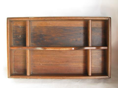vintage pine wood table box / knife tray with handle, for knives, flatware