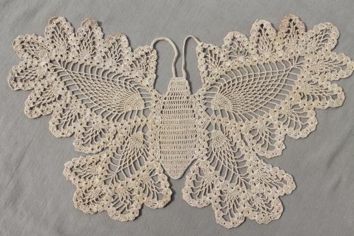 vintage pineapple pattern crochet lace butterfly, cotton thread ...
