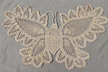 vintage pineapple pattern crochet lace butterfly, cotton thread doily or large motif
