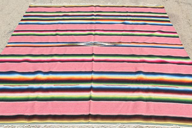 vintage pink Saltillo Mexican Indian blanket serape rug, southwest style