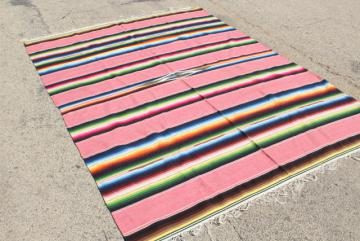 vintage pink Saltillo Mexican Indian blanket serape rug, southwest style