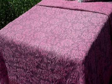 vintage pink and black fringed cotton jacquard brocade pattern bedspread