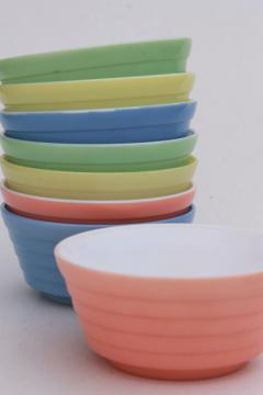 vintage pink blue yellow green cottage cheese bowls, Hazel Atlas Moderntone platonite glass