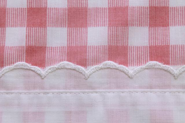 vintage pink checked gingham sheets, double bed full fitted, flat sheet, pillowcase