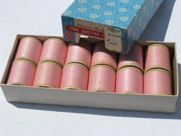 vintage pink cotton Star quilting thread, old wood spools in original box