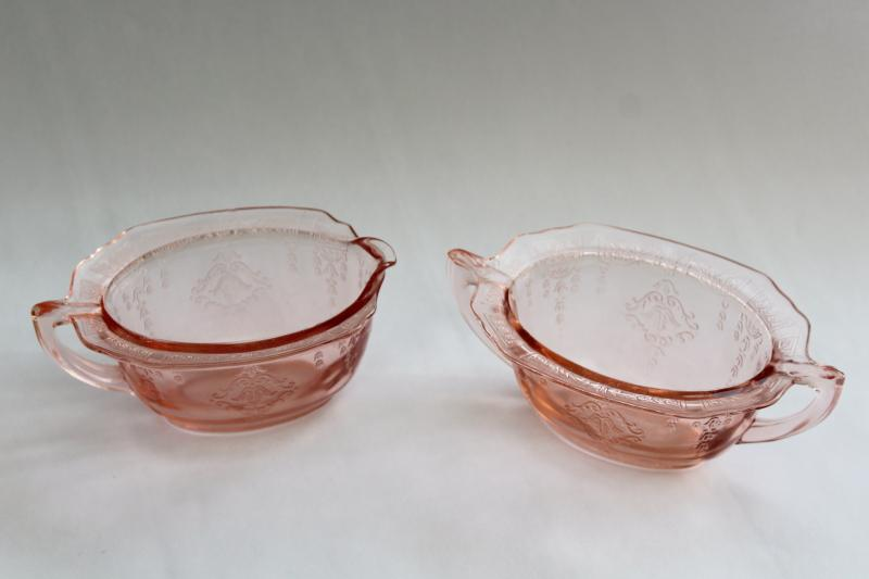 vintage pink depression glass Princess pattern cream & sugar set, 1930s Anchor Hocking