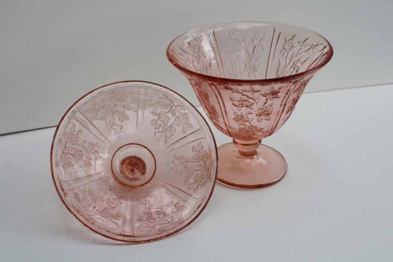 vintage pink depression glass Sharon floral pattern covered candy dish